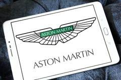 Aston martin car logo. Logo of aston martin car brand on samsung tablet royalty free stock image