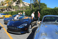 Aston martin cars parked at luxury hotel Royalty Free Stock Photo
