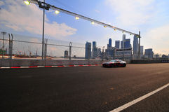 Aston Martin Cup at Singapore Formula One. Aston Martin racing for Aston Martin Cup at Singapore Formula One with the background of Singapore Cityscape. www Stock Photos