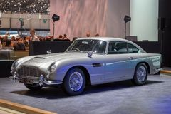 1964 Aston Martin DB5 classic sports car. GENEVA, SWITZERLAND - MARCH 1, 2016: 1964 Aston Martin DB5 classic sports car showcased at the 86th Geneva Stock Photos