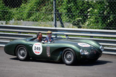 Aston Martin DB3S 1952 at the Mille Miglia. Classic Racing Car takes part in the Monza Circuit Stage for the 2015 Mille Miglia Stock Images