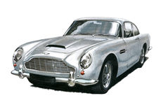 Aston Martin DB5. Illustration of vintage Aston Martin DB5 royalty free illustration