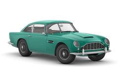 Aston Martin DB5 Vantage (1964). 3D render of James Bond's car on white background royalty free illustration