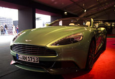 ASTON MARTIN front view. PARIS - JANUARY 30 - ASTON MARTIN front view, Concept cars exposition on JANUARY 30, 2014 at Les Invalides museum in Paris, France Royalty Free Stock Photography