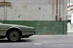 Aston Martin Lagonda – vehicle front from the side. A child of the 1970ies, the Aston Martin Lagonda broke new ground with its spacecraft like design royalty free stock photography