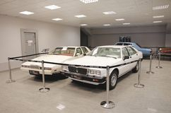 Aston Martin Lagonda and Maserati Quattroporte Stock Photos