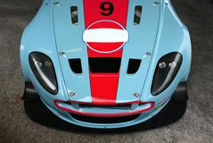 Aston Martin racing car. Aston Martin blue and red racing car from above Stock Photography