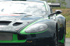 Aston Martin racing car. Front angle of a Aston Martin racing car Royalty Free Stock Photos