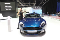 Aston Martin Vanquish coupe car with Unidentified model on display Stock Photography