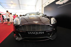 Aston Martin Vanquish grand tourer on display during Singapore Yacht Show at One Degree 15 Marina Club Royalty Free Stock Photography