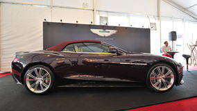 Aston Martin Vanquish grand tourer on display during Singapore Yacht Show at One Degree 15 Marina Club Sentosa Cove Royalty Free Stock Photo