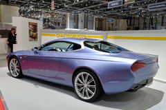 Aston Martin Zagato. Blue Aston Martin Zagato car pictured at the Geneva motor show in Switzerland, 2014 Royalty Free Stock Photography