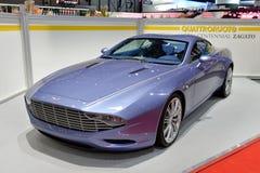 Aston Martin Zagato på den motoriska showen för Genève Arkivfoto