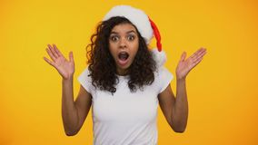 Astonished afro-american girl saying Wow surprised with new years sale, discount. Stock footage stock footage