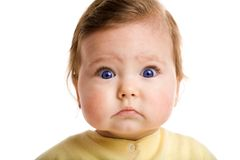 Astonished baby. Photo of a baby, staring at camera, isolated on white Stock Image