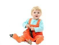 Astonished baby isolated on white Royalty Free Stock Photo