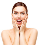 Astonished Beauty Model, Happy Woman Makeup, Amazed Girl Face. Expression, Open Mouth Hands on Face Stock Photos