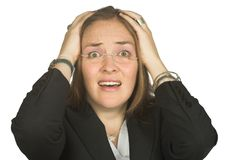 Astonished business woman with hands on head Royalty Free Stock Photo