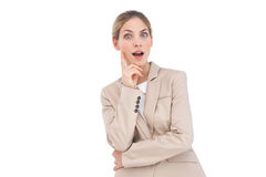 Astonished businesswoman looking at the camera Stock Photography