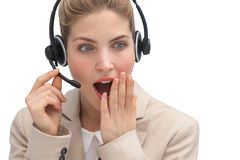 Astonished call center agent Stock Images