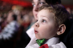 Astonished child at circus Royalty Free Stock Images