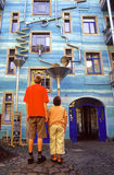 Astonished children. Strange house in the quarter of artists in Dresden - Germany Royalty Free Stock Image