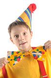 Astonished clown kid Stock Image