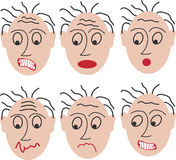 Astonished faces. 6 astonished faces. This file is also available as Illustrator-9-File Stock Images