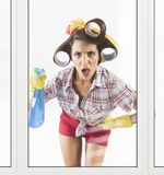 Astonished housewife Stock Photography