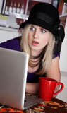 Astonished Lady with Red Mug Stock Images