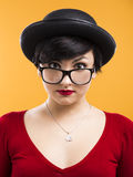 Astonished nerd girl Stock Photography