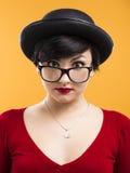 Astonished nerd girl Stock Photography