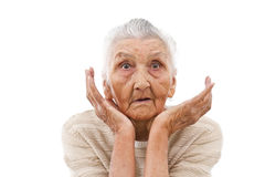 Astonished old lady Royalty Free Stock Photography