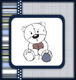 Astonished teddy bear greeting card stock photo