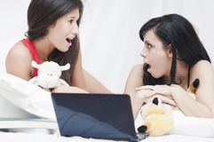Astonished teenagers Stock Images