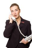Astonished telephone operator royalty free stock images