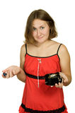 Astonished woman with broken clock Royalty Free Stock Image
