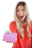 Astonished woman holding a gift Stock Photos