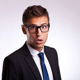 Astonished young business man or student Royalty Free Stock Image