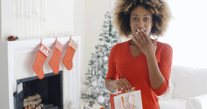 Astonished young woman holding a Christmas gift Royalty Free Stock Photo