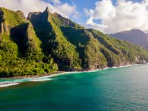 Astonishing aerial views of the Kauai island. From above with forests jungles, Pacific ocean and Na Pali cliffs Royalty Free Stock Image