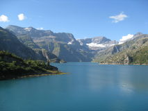 Astonishing Alps. A lake near the border of France and Switzerland, high in the mountains near Chamonix, France Stock Photos
