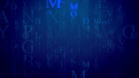 Artistic holographic letter illustration. An astonishing 3d rendering of falling Latin letters in the dark blue background with a grid. The most frequent are M Stock Images