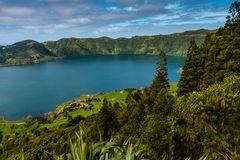 The astonishing Lagoon of the Seven Cities Lagoa das 7 cidades. In Sao Miguel Azores,Portugal Royalty Free Stock Photography