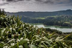 The astonishing Lagoon of the Seven Cities Lagoa das 7 cidades. In Sao Miguel Azores,Portugal Stock Images