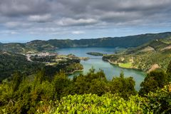 The astonishing Lagoon of the Seven Cities Lagoa das 7 cidades. In Sao Miguel Azores,Portugal Stock Photo