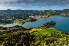 The astonishing Lagoon of the Seven Cities Lagoa das 7 cidades. In Sao Miguel Azores,Portugal Royalty Free Stock Photos