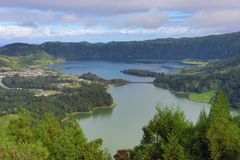 Lagoa das 7 Cidades Lagoon of the Seven Cities - Azores - Port Royalty Free Stock Images