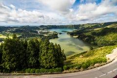The astonishing Lagoon of the Seven Cities Lagoa das 7 cidades , in Sao Miguel Azores,Portugal. Lagoa das Sete Cidades. royalty free stock photos