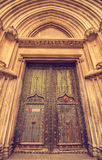 Astonishing Religious Spain. Impressive door at the Gothic portal of Girona Cathedral, Catalonia, Spain Royalty Free Stock Photo